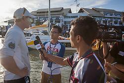 Ian Williams talks to media after winning the Alpari World Match Racing Tour at the 2012 Monsoon Cup. Kuala Terengganu, Malaysia. 6 December 2012. Photo: Subzero Images/Monsoon Cup