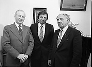 """The Carlingford Oyster Festival.1982.19.08.1982..08.19.1982.19th August 1982..Pictures and Images of the Carlingford Oyster Festival... The Minister For Fisheries and Forestry Mr Brendan Daly officially opened  The Carlingford Oyster Festival. The Chairman of the organising committee was Mr. Joe McKevitt..""""The Oyster Pearl"""" was Ms Deirdre McGrath..The minister poses with members of the organising committee."""