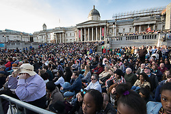 Trafalgar Square, London, March 25th 2016. Thousands of Londoners an tourists in Trafalgar Square are treated to The Passion of Jesus, a re-enactment of the events leading up to the crucifixion and resurrection of Jesus Christ. PICTURED: Part of the crowd watching the performance. <br /> &copy;Paul Davey<br /> FOR LICENCING CONTACT: Paul Davey +44 (0) 7966 016 296 paul@pauldaveycreative.co.uk