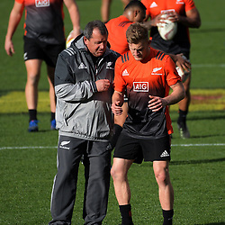 Assistant coach Ian Foster and Damien McKenzie during the 2017 DHL Lions Series NZ All Blacks captain's run at Eden Park in Auckland, New Zealand on Friday, 7 July 2017. Photo: Dave Lintott / lintottphoto.co.nz