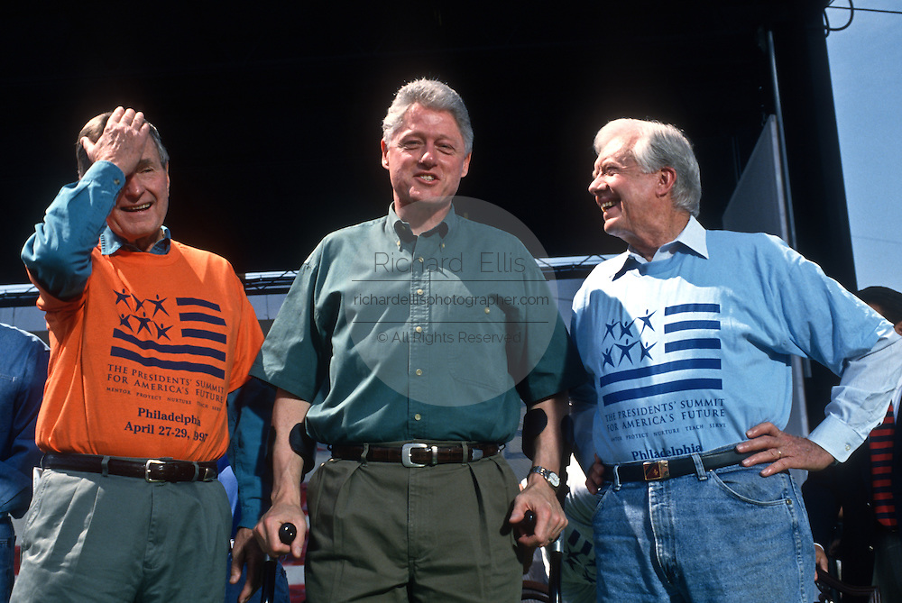Presidents George Bush, Bill Clinton and Jimmy Carter at the Presidents Summit for America's Future in Philadelphia, PA.