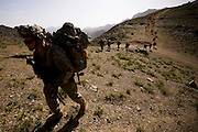 US soldiers from Titan task force on top of a mountain overlooking Kherwar valley in their first push into Kherwar district in Afghanistan on May 20-24th 2009..Kherwar Valley in Logar Province is a Taleban controlled region Beleived to house one of Afghanistan's main Taleban HQ's and hundreds of fighters...Photo: Guilad Kahn.