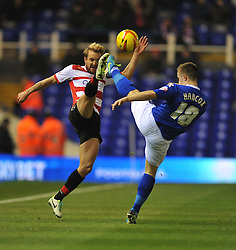 Doncaster Rovers' James Coppinger batlles for the ball with Birmingham City's Mitch Hancox - Photo mandatory by-line: Alex James/JMP - Tel: Mobile: 07966 386802 03/12/2013 - SPORT - Football - Birmingham - St Andrews - Birmingham City v Doncaster Rovers - Sky Bet Championship