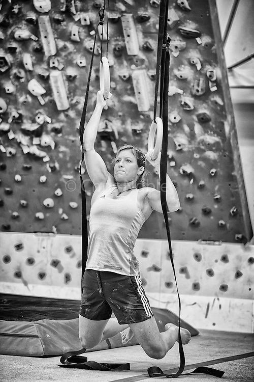 Pro climber Mayan Smith-Gobat training for climbing in Grand Junction Colorado.
