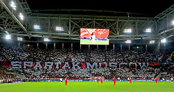 MOSCOW, RUSSIA - Tuesday, September 26, 2017: FC Spartak Moscow supporters banner during the UEFA Champions League Group E match between Spartak Moscow and Liverpool at the Otkrytie Arena. (Pic by David Rawcliffe/Propaganda)