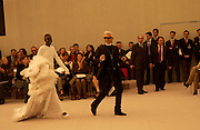 Alek Wek, Karl Lagerfeld, Chanel couture fashion show, Paris, 20 January 2004. © Copyright Photograph by Dafydd Jones 66 Stockwell Park Rd. London SW9 0DA Tel 020 7733 0108 www.dafjones.com