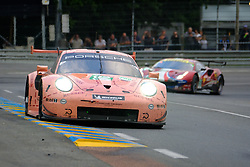 June 17, 2018 - Le Mans, Sarthe, France - KEVIN ESTRE (FRA) leads the LM GTE PRO class in the #92 Porsche GT Team 911 RSR, known as the Pink Pig, during the 86th edition of the 24 hours of Le Mans 2nd round of the FIA World Endurance Championship, at Circuit de la Sarthe. (Credit Image: © Pierre Stevenin via ZUMA Wire)