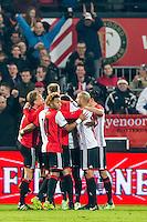ROTTERDAM - Feyenoord - Vitesse , Voetbal , Eredivisie , Seizoen 2016/2017 , De Kuip , 16-12-2016 , Spelers van Feyenoord vieren de 1-0
