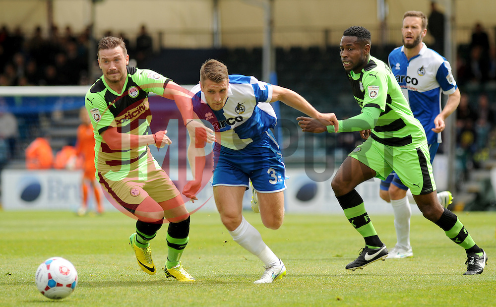 Bristol Rovers' Lee Brown is held off by Forest Green Rovers's James Marwood.- Photo mandatory by-line: Nizaam Jones /JMP - Mobile: 07966 386802 - 03/05/2015 - SPORT - Football - Bristol - Memorial Stadium - Bristol Rovers v Forest Green Rovers - Vanarama Football Conference.