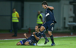 Ivica Urdoljak and Dino Drpic of Dinamo celebrating the first goal at 1st football game of 2nd Qualifying Round for UEFA Champions league between NK Domzale vs HNK Dinamo Zagreb, on July 30, 2008, in Domzale, Slovenia. Dinamo won 3:0. (Photo by Vid Ponikvar / Sportal Images)