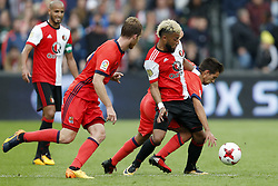 (L-R) Karim El Ahmadi of Feyenoord, David Zurutuza of Real Sociedad de Futbol, Tonny Vilhena of Feyenoord, Eneko Capilla of Real Sociedad de Futbol during the pre-season friendly match between Feyenoord Rotterdam and Real Sociedad at the Kuip on July 29, 2017 in Rotterdam, The Netherlands