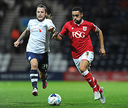 Derrick Williams of Bristol City is chased down by Stevie May of Preston North End - Mandatory byline: Dougie Allward/JMP - 07966386802 - 15/09/2015 - FOOTBALL - Deepdale Stadium -Preston,England - Bristol City v Preston North End - Sky Bet Championship