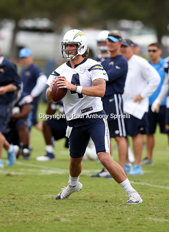 San Diego Chargers quarterback Zach Mettenberger (4) looks to throw a pass during the Chargers 2016 NFL minicamp football practice held on Tuesday, June 14, 2016 in San Diego. (©Paul Anthony Spinelli)