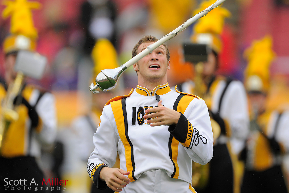 The University of Iowa marching band during the LSU Tigers 21-14 win over the Iowa Hawkeyes in the 2014 Outback Bowl at Raymond James Stadium on Jan 1, 2014  in Tampa, Florida.            ©2014 Scott A. Miller