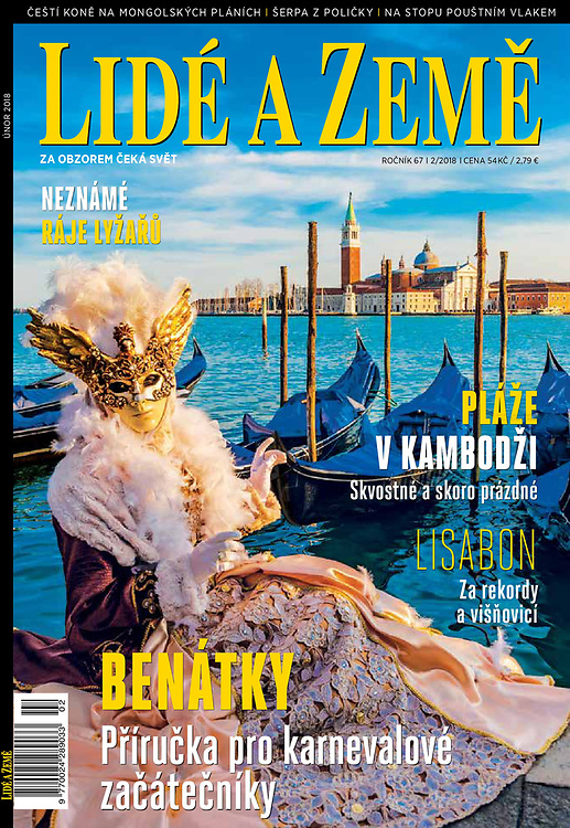 February 2018 cover of Lide a Zeme Magazine in Czech Republic of the Venice Carnival, Italy by Blaine Harrington III.