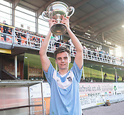 Monifieth captain Luc Bollan with the U16 Dundee United Cup (sponsored by Arab Trust) after Monifieth High School beat  Grove Academy 5-4 in the final at Tanandice<br /> <br />  - &copy; David Young - www.davidyoungphoto.co.uk - email: davidyoungphoto@gmail.com