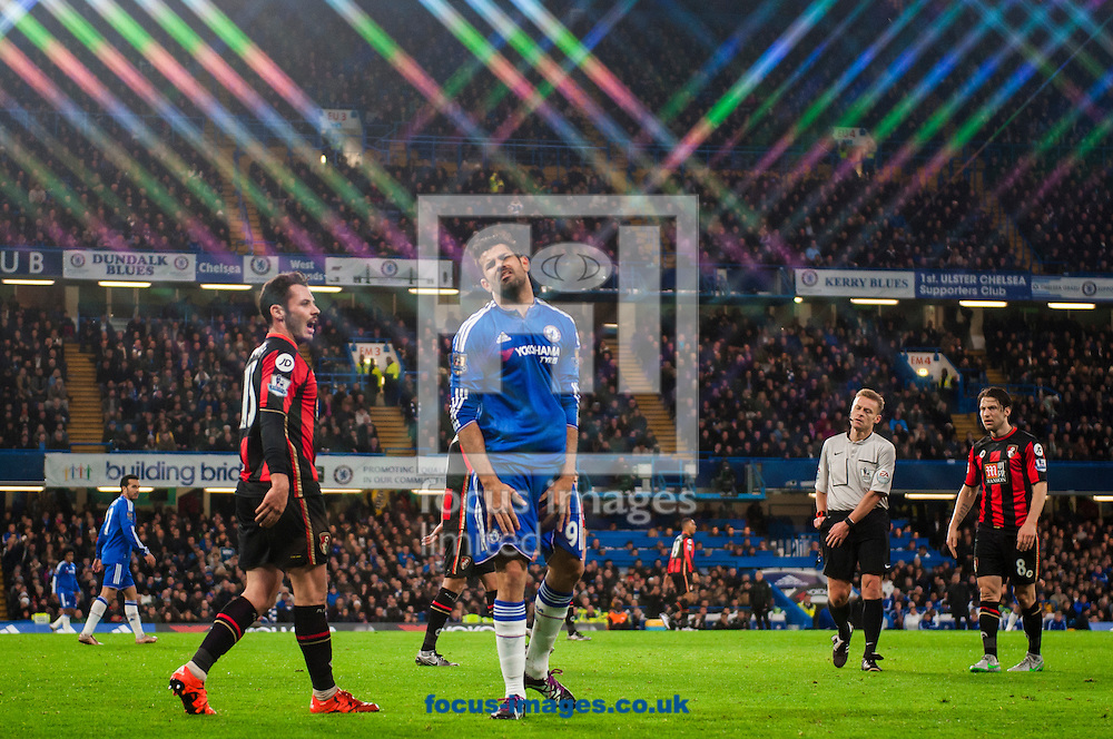 Diego Costa of Chelsea reacts after conceding a foul during the Barclays Premier League match at Stamford Bridge, London<br /> Picture by Jack Megaw/Focus Images Ltd +44 7481 764811<br /> 05/12/2015