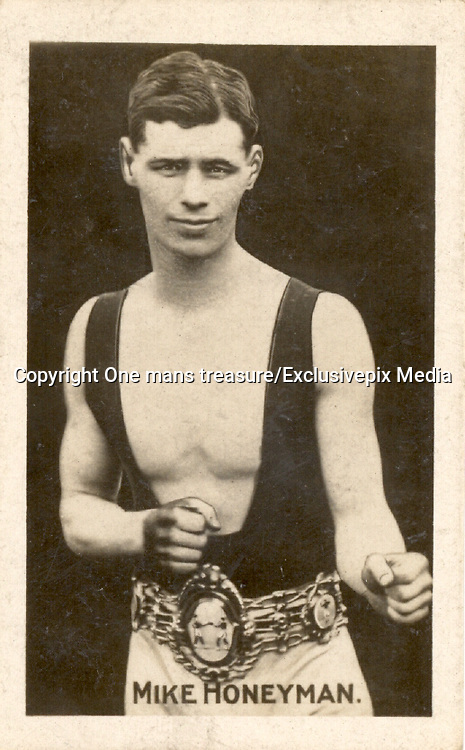 Amazing images of Britain's best boxers from the 1920's<br /> <br /> From the 1920s up until World War 2 cigarette companies, sporting magazines and boys' weeklies included real photo cards of sports stars to collect and swap. These photos of British boxers come from magazines like The Champion, The Magnet and Boy's Friend and cigarette companies such as Senior Service and Ogdens.<br /> <br /> Photo shows: Mike Honeyman: In 1923 Ernie Rice beat Mike Honeyman, who retired after 20 rounds. Honeyman is forgotten today though he was Featherweight Champion of Britain from 1920 to 1921 and had over 150 fights. He died in a Dagenham saniyorium in 1944, aged only 49.<br /> ©One mans treasure/Exclusivepix Media