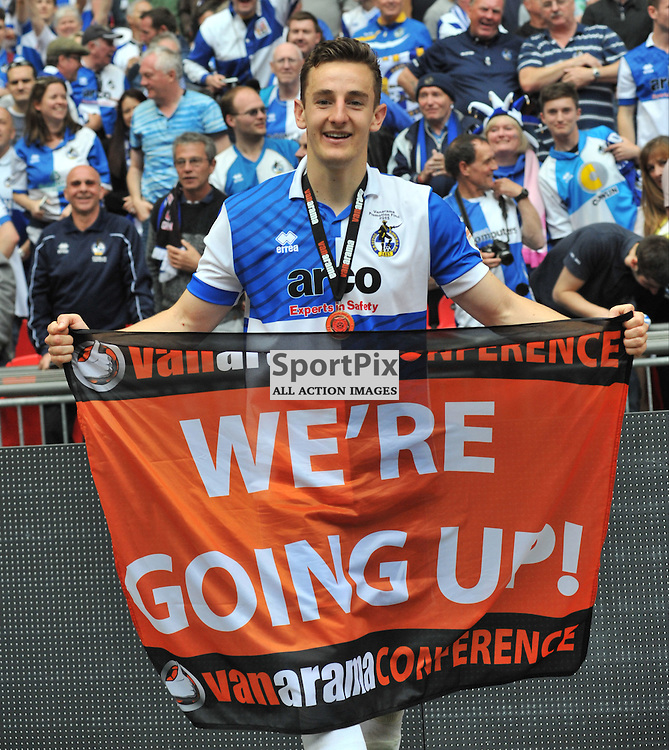 Bristol Rovers Tom Lockyeo celebrates Promotion into the Football League At Wembley, Bristol Rovers v Grimsby, Vanaama Conference Final, Wembley, Sunday 17th May 2015