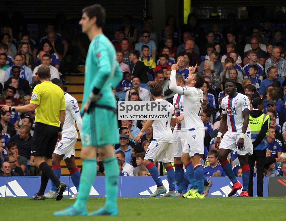 Joel Ward celebrates During Chelsea vs Crystal Palace on Saturday the 29th August 2015
