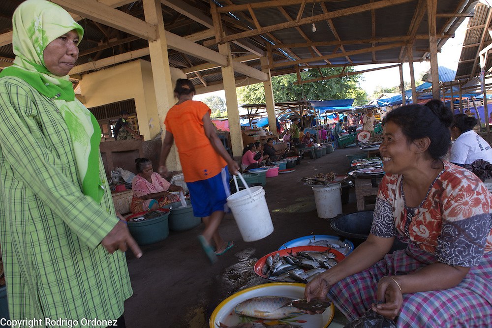 Siti Mastura, around 50 years of age (left), buys parrot fish from Sitti Salmah Taher, around 40 years of age, at Tepi market in Lewoleba, Nubatukan subdistrict, Lembata district, East Nusa Tenggara province, Indonesia.