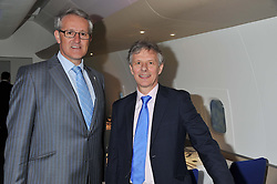 Left to right, FRANK VAN DER POST Managing Director of Brands & Customer Experience of British Airways Plc and KEITH WILLIAMS chief executive of British Airways at the launch of Flight BA2012 - an evening of Art, Food and Film to see Olympic Games inspires work by rising British Talent held at BA's pop up venue at 3-10 Shoreditch High Street, London E1 on 3rd April 2012.