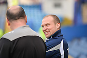 Portsmouth Manager Paul Cook and Newport County Manager Warren Feeney before kick off during the Sky Bet League 2 match between Portsmouth and Newport County at Fratton Park, Portsmouth, England on 12 March 2016. Photo by Adam Rivers.
