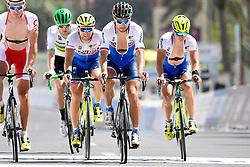 October 14, 2016 - Doha, QATAR - Slovakian Peter Sagan of Tinkoff (C) and Slovakian Juraj Sagan of Tinkoff (R) pictured during a training session at The Pearl, ahead of at the 2016 UCI World Road World Cycling Championships in Doha, Qatar, Friday 14 October 2016. BELGA PHOTO YORICK JANSENS (Credit Image: © Yorick Jansens/Belga via ZUMA Press)