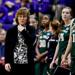Mar 24, 2013; Baton Rouge, LA, USA; Cal Poly Mustangs head coach Faith Mimnaugh looks on in the second half of a game against the Penn State Lady Lions during the first round of the 2013 NCAA womens basketball tournament at the Pete Maravich Assembly Center. Penn State defeated Cal Poly 85-55. Mandatory Credit: Derick E. Hingle-USA TODAY Sports