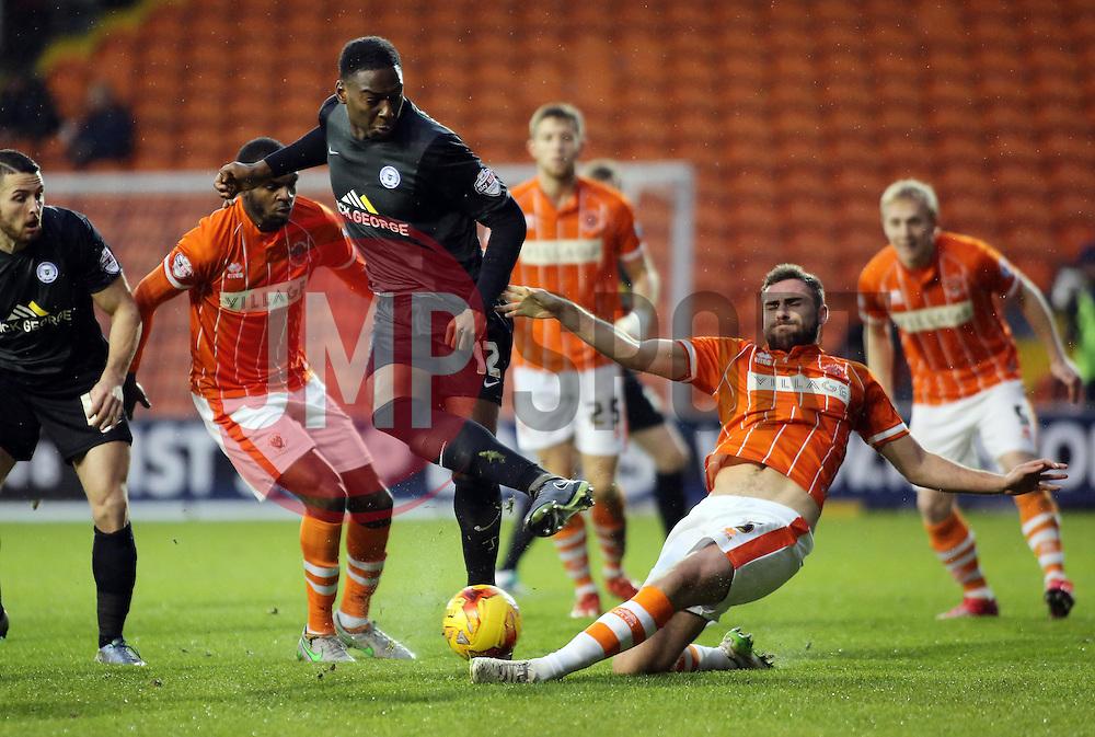 Ricardo Santos of Peterborough United is blocked by Clark Robertson of Blackpool - Mandatory byline: Joe Dent/JMP - 07966 386802 - 19/12/2015 - FOOTBALL - Bloomfield Stadium - Blackpool, England - Blackpool v Peterborough United - Sky Bet League One