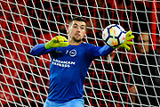 Matthew Ryan (1) of Brighton and Hove Albion warming up before the Premier League match between Bournemouth and Brighton and Hove Albion at the Vitality Stadium, Bournemouth, England on 15 September 2017. Photo by Graham Hunt.