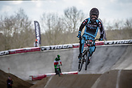 #330 (MEYNIER Macleo) FRA at Round 2 of the 2018 UCI BMX Superscross World Cup in Saint-Quentin-En-Yvelines, France.