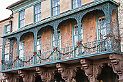 Historic Dock Street Theater decorated for Christmas in Charleston, South Carolina.