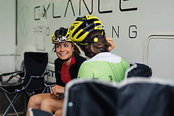 Fun in the Cylance camp with Sheyla Gutierrez at Aviva Women's Tour 2016 - Stage 2. A 140.8 km road race from Atherstone to Stratford upon Avon, UK on June 16th 2016.