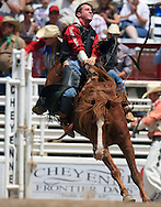Bareback Rider Tilden Miles Hooper rides Sports News during the Bareback competition, 25 Jul 2007, Cheyenne Frontier Days