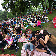 June 4, 2014 - New York, NY : Concertgoers including David Eston, foreground right in hat, and Chrissy Placide, foreground center in jeans, lounge on picnic blankets as they wait to see Janelle Monáe kick off the season's innaugural Celebrate Brooklyn! concert in Prospect Park on Wednesday night.<br /> CREDIT: Karsten Moran for The New York Times