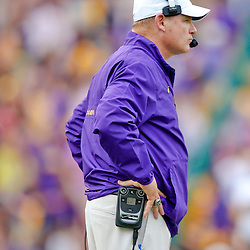 Oct 12, 2013; Baton Rouge, LA, USA; LSU Tigers head coach Les Miles against the Florida Gators during the second half of a game at Tiger Stadium. LSU defeated Florida 17-6. Mandatory Credit: Derick E. Hingle-USA TODAY Sports