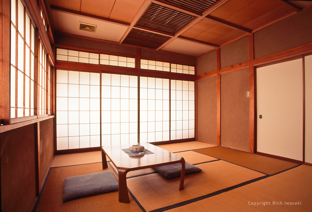 Interior of guest room at a traditional Japanese inn, Ryokan Asakura, Shirone city, Niigata Prefecture, Japan