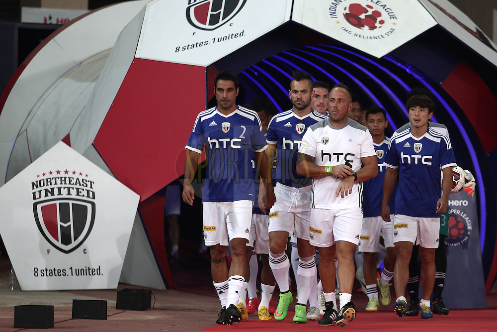 NorthEast United FC Players with Lee Taylor during match 16 of the Hero Indian Super League between The Delhi Dynamos FC and NorthEast United FC held at the Jawaharlal Nehru Stadium, Delhi, India on the 29th October 2014.<br /> <br /> Photo by:  Deepak Malik/ ISL/ SPORTZPICS