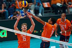 10-08-2019 NED: FIVB Tokyo Volleyball Qualification 2019 / Belgium - Netherlands, Rotterdam<br /> Third match pool B in hall Ahoy between Belgium vs. Netherlands (0-3) for one Olympic ticket / Gijs van Solkema #15 of Netherlands, Fabian Plak #8 of Netherlands