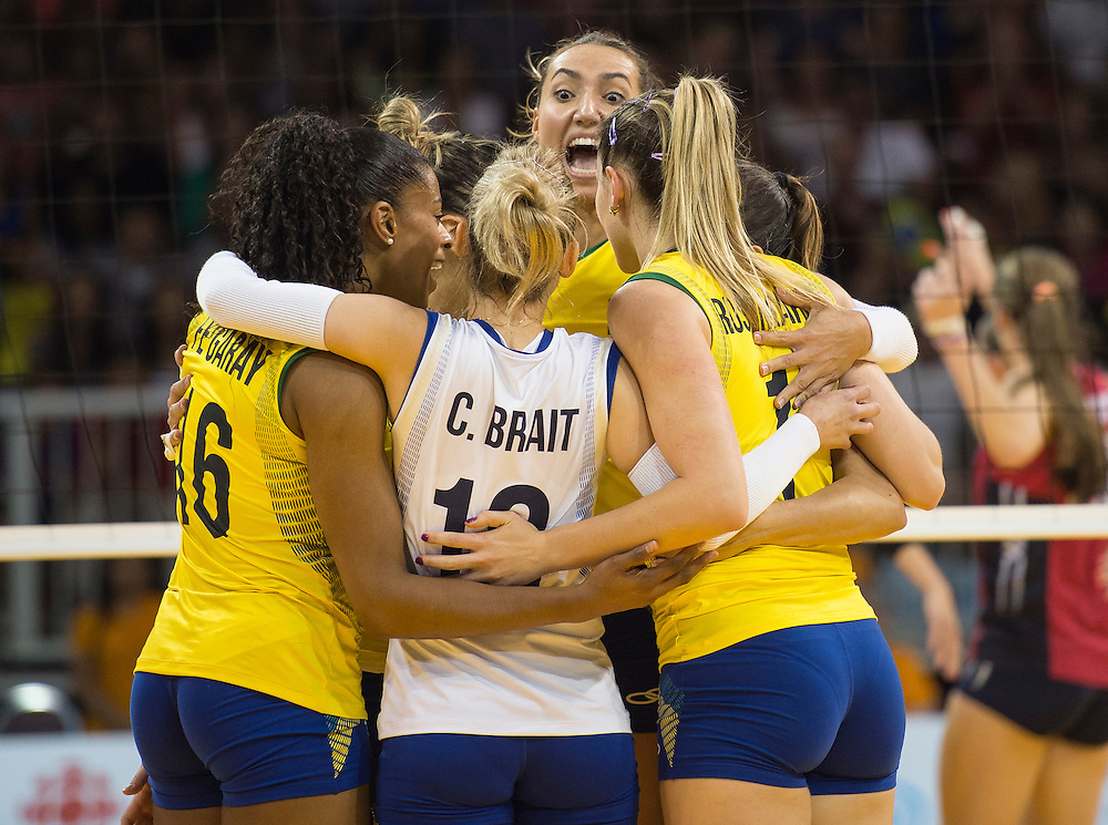 Women's volleyball finals-USA vs. Brazil- Team Brazil reacts after a point during competition at the 2015 PanAm Games in Toronto.