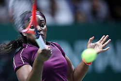 October 22, 2018 - Singapore, Singapore - Sloane Stephens of the United States returns a shot during the match between Naomi Osaka and Sloane Stephens on day 2 of the WTA Finals at the Singapore Indoor Stadium. (Credit Image: © Paul Miller/ZUMA Wire)