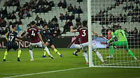 Football - 2018 / 2019 Premier League - West Ham United vs. Manchester City<br /> <br /> Leroy Sane (Manchester City) drives home his second goal in the dying seconds at the London Stadium<br /> <br /> COLORSPORT/DANIEL BEARHAM