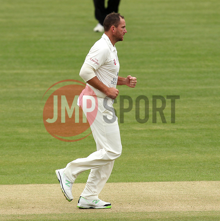 Durham's John Hastings celebrates taking the wicket of Middlesex's James Franklin - Photo mandatory by-line: Robbie Stephenson/JMP - Mobile: 07966 386802 - 03/05/2015 - SPORT - Football - London - Lords  - Middlesex CCC v Durham CCC - County Championship Division One