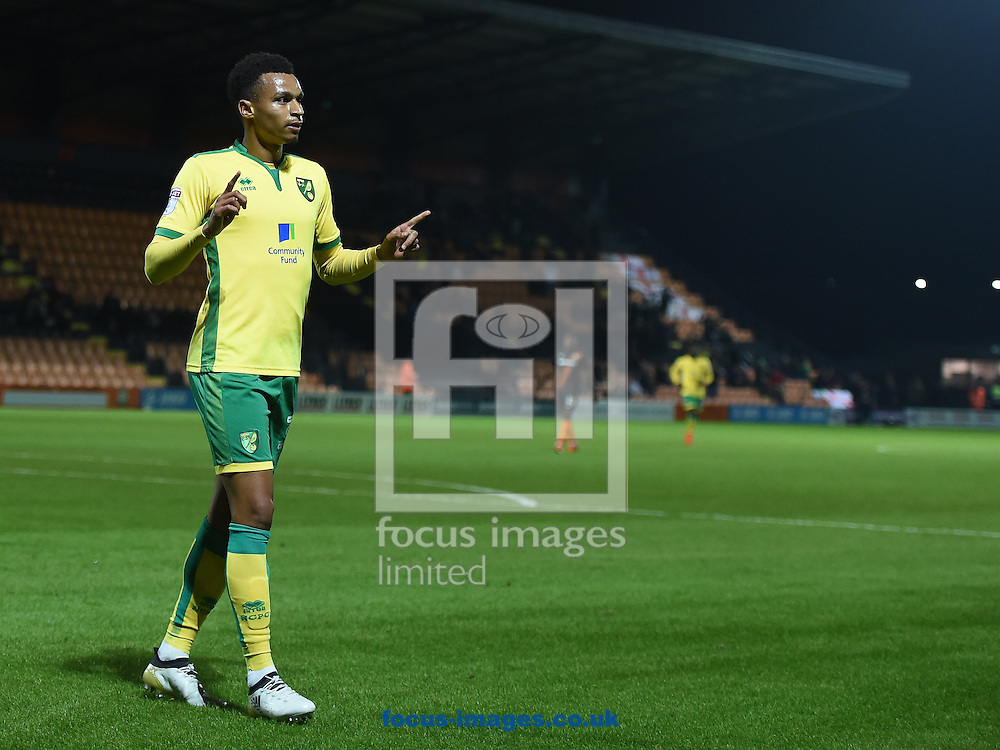 Josh Murphy of Norwich City U23 celebrates scoring their first goal during the Checkatrade Trophy match at Underhill Stadium, London<br /> Picture by Daniel Hambury/Focus Images Ltd +44 7813 022858<br /> 04/10/2016