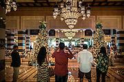 DUBAI, UAE - DECEMBER 18, 2015: The Christmas decor displayed in the lobby of the Jumeirah Al Qasr, Madinat Jumeirah Resort.