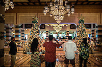 DUBAI, UAE - DECEMBER 18, 2015: The Christmas decor displayed in the lobby of the Jumeirah Al Qasr, Madinat Jumeirah Resort.