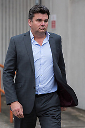 Ex owner of BHS Dominic Chappel who was found guilty of three charges of failing to provide information about the firm's pension schemes to investigators after it collapsed into administration with the loss of thousands of jobs leaves Barkingside Magistrate's Court, London following his sentencing to a £ 50,000 fine with costs of £37,000 with a £170 surcharge. He says he will appeal. Barkingside, London, February 23 2018.