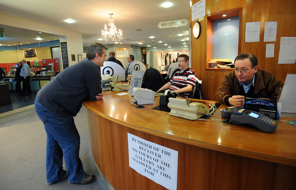The reception area of the  Waterford Crystal visitors centre, Waterford, Ireland. Workers have been occupying the factory in protest for two weeks since the company went into receivership. Production is to move to lower cost countries. Crystal manufacturing began in Waterford in 1783. 13/2/2009