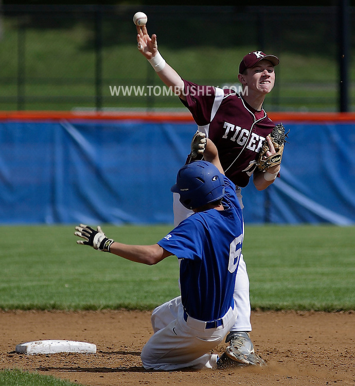 Kingston second baseman Pat Dorrian throws to first base to complete a double play after forcing Derek Gilbert of Horseheads out at second base during a state Class AA quarterfinal baseball game at SUNY New Paltz on Tuesday, June 5, 2012.